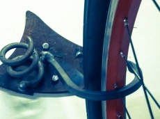 Close up of one of the bike hangers.