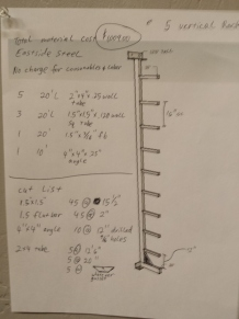 Plans for the new steel rack in our shop.