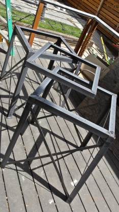 Three of the four frames complete here, weld on one more set of legs, then it's onto finishing.