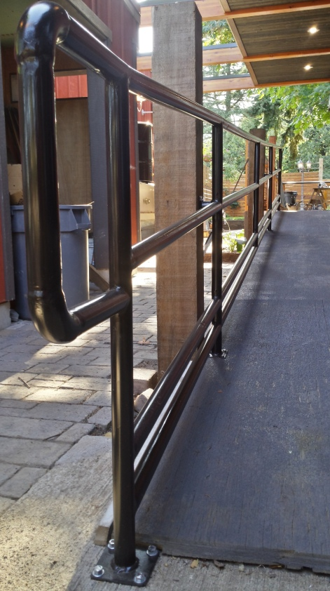 Long lines and tight corners make up this set of handrails.